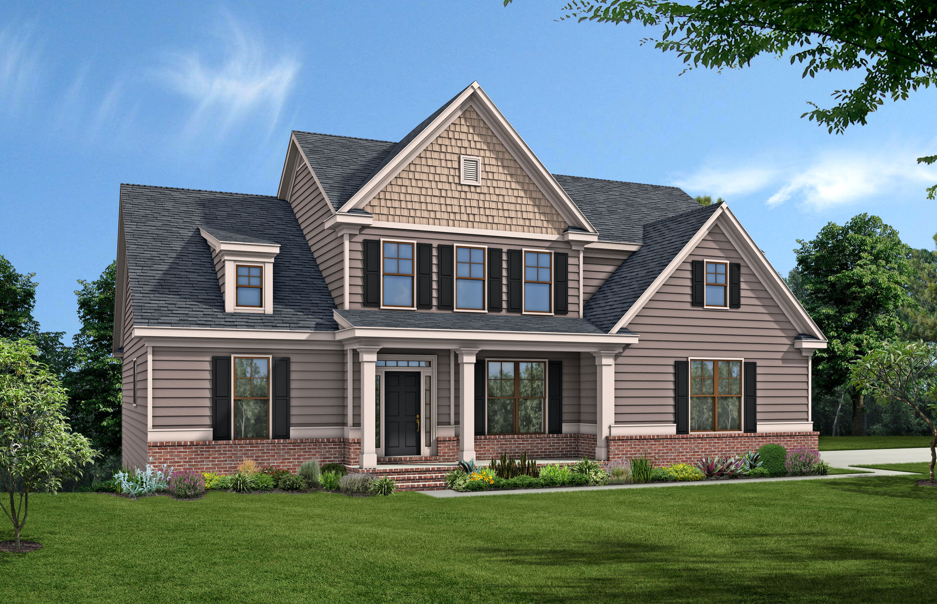 Tiburon Plan front elevation of home. Peachtree Residential offers personalized service when building homes.