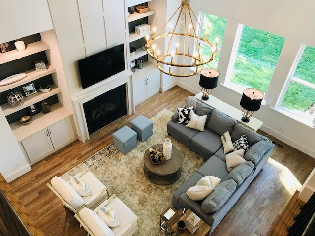 Aerial view of the milton model homes den shot from second floor